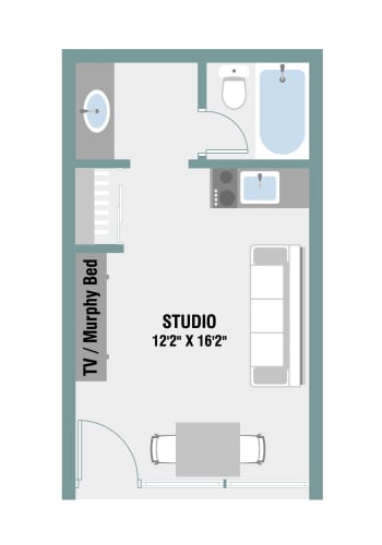 Floor Plan  Studio Floor Plan at The Palms on Main, Columbia, 29201