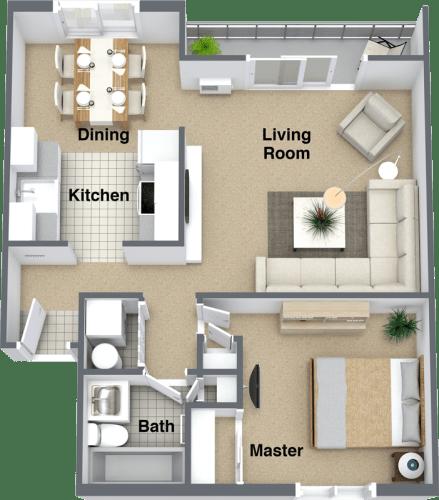 Floor Plan  Lyons Court 1 bedroom