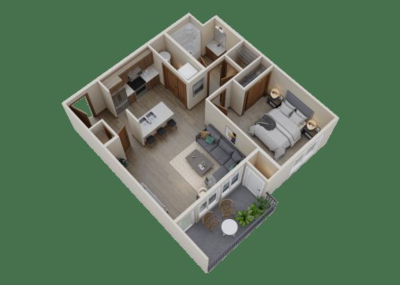Floor Plan  3D floor plan 1 bedroom