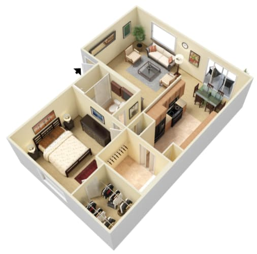 Floor Plan  1 Bedroom, 1 Bathroom