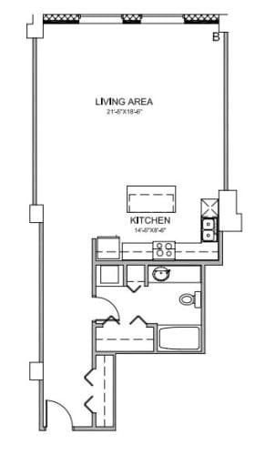 Floor Plan  Studio Apartment at Lofts of Merchants Row Detroit MI 48226