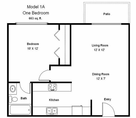 Floor Plan  Crosswinds_1 Bedroom Floor Plan