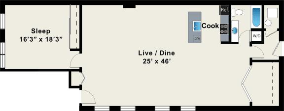 Floor Plan  Loft One Bedroom Floor Plan at 1012 W Randolph St Chicago, IL 60607