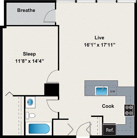 Floor Plan  1 Bed 1 Bath Floor plan at 24 S Morgan Apartments, IL, 60607