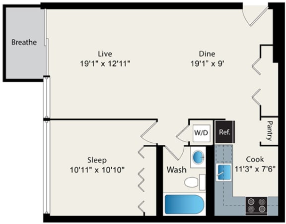 Floor Plan  1 Bed 1 Bath Floor plan at Park Lincoln by Reside, Chicago, IL