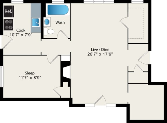 Floor Plan  1 Bed 1 Bath Floor Plan at Irving Courts by Reside Apartments, Chicago, IL
