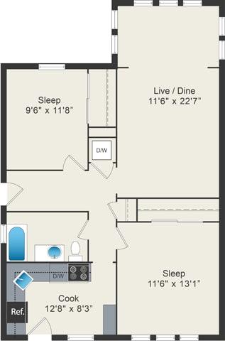 Floor Plan  2 bedroom floor plan at 5425 N Clark Apartments