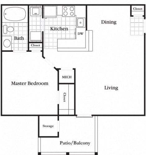 Floor Plan  1 Bedroom 1 Bath Economy