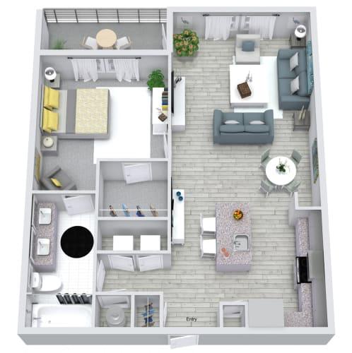 Floor Plan  1 bed 1 bath floorplan, at NorthPointe, Greenville