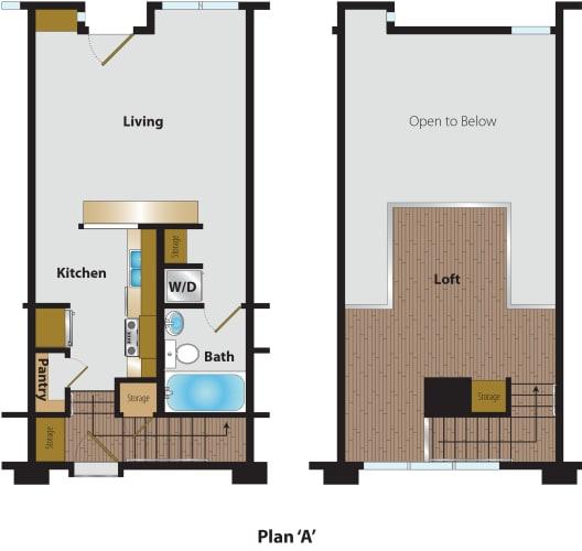 Floor Plan  1 Bedroom Loft Plan A