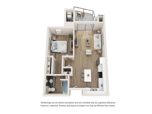 Floor Plan  1 bedroom 1 bath at Cortona Point Apartments Goleta, CA 93117