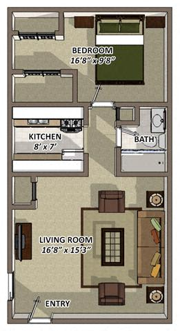 Floor Plan  The Ranch floor plan at Hyde Park Apartments in Chester VA