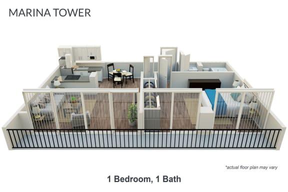 Floor Plan  1 Bedroom  Unfurnished