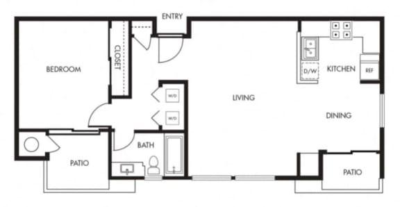 Floor Plan  Aviare Cupertino CA Plan A 1 Bedroom 740 SQ FT