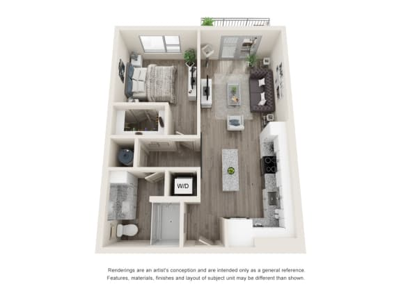 Floor Plan  One-Bedroom Floor Plan A1|26 at City Point Apartments