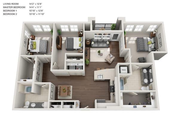 Floor Plan  C1 3D Floor Plan 511 Queens Apartments