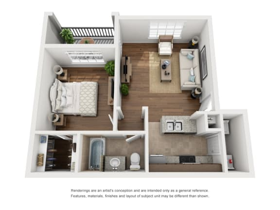 Floor Plan  One-Bedroom Floor Plan A1   Avenues at Creekside Apartments