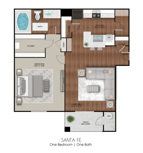 Floor Plan  Apartment layout of 625 sq ft one bedroom Santa Fe floor plan at Limestone Ranch Apartments in Lewisville, TX