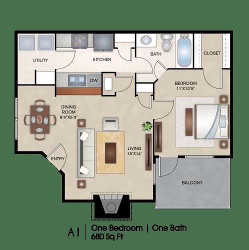 Floor Plan  One Bedroom Floor Plan layout