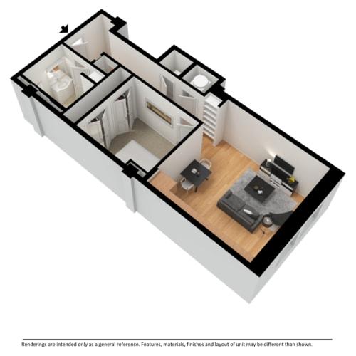 Floor Plan  One bedroom apartment 3d floor plan