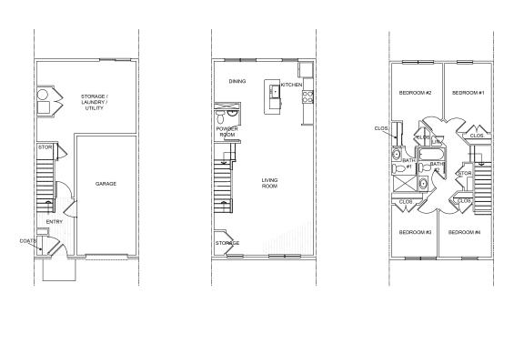 Floor Plan  Four bedroom townhome