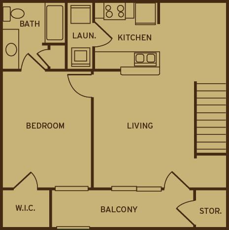 Floor Plan  Park at Kirkstall Apartments 1 bedroom 1 bathroom floor plan