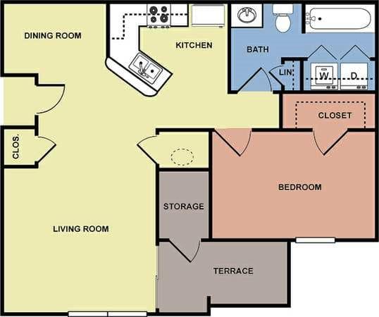 Floor Plan  Greens of Merrill Creek 1 bedroom 1 bathroom floor plan