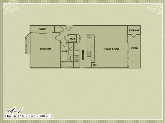 Floor Plan  Meadow Green Apartments 1 Bedroom 1 Bathroom floor plan