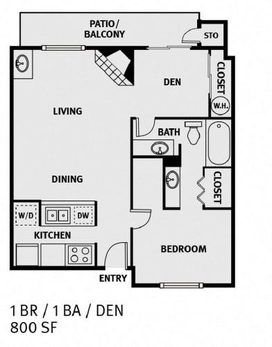 Floor Plan  Oakwood Creek Apartments 1 bedroom 1 bathroom plus den floor plan