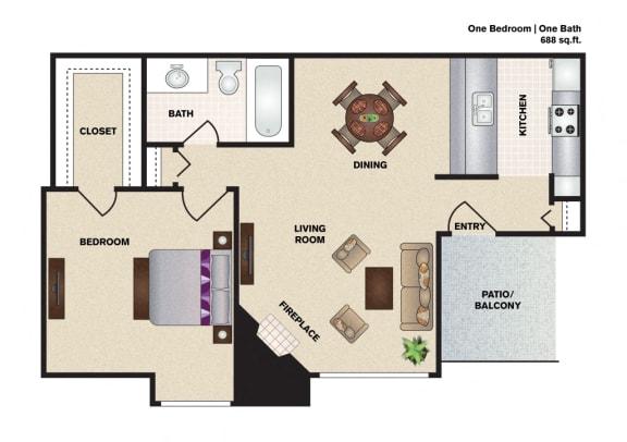 Floor Plan  Hidden Oaks Apartment Homes One Bedroom One Bathroom floor plan