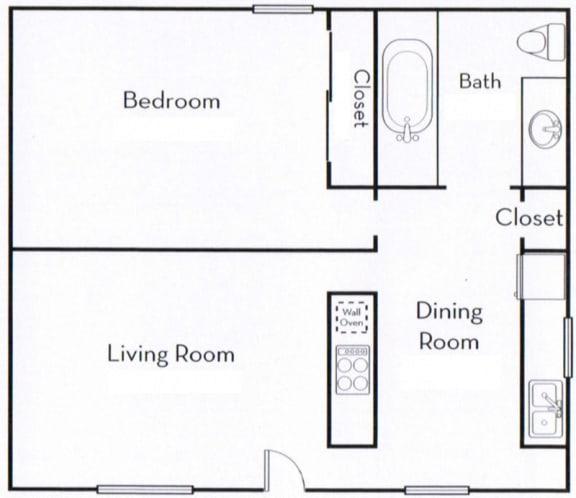Floor Plan  Ocean View Townhomes 1 Bedroom 1 Bath floor plan