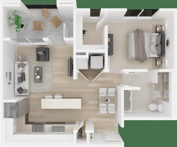 Floor Plan  1x1 floor plans available at The Core Natomas | Sacramento, CA 95833