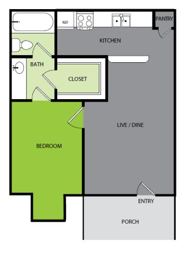 Floor Plan  1 bedroom 1 bathroom Floor plan at Bend at Oak Forest, Houston, TX, 77092