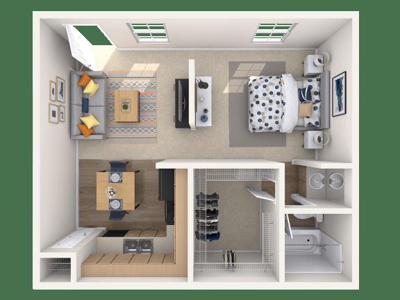 Floor Plan  Studio, 1 ba, 510 sq. ft.
