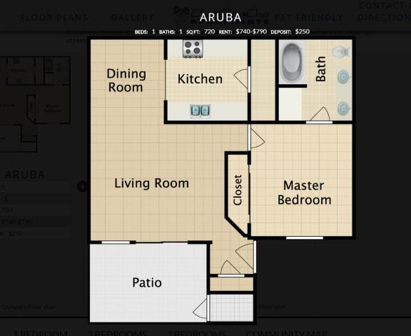 Floor Plan  Aruba, 1 br, 1 ba, 720 sq. ft.