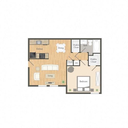 Floor Plan  1 Bed. 1 Bath. 614 sq. ft.