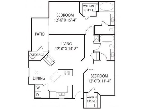 Floor Plan  2 Bed - 2 Bath  1125 sq ft floorplan