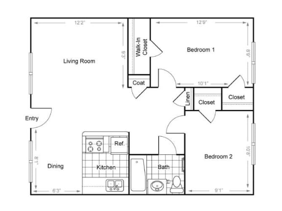 Floor Plan  2 Bedroom/1 Bathroom