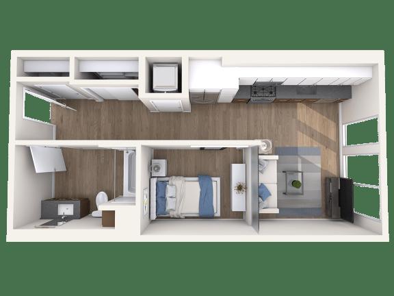 Floor Plan  S1 floorplan, Studio, 1 ba