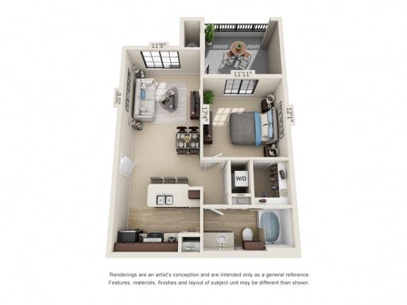 Floor Plan  A1, 1 br, 1 ba 685 sq. ft.