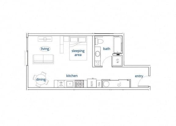 Floor Plan  Studio, 465 sq. ft. Unit C