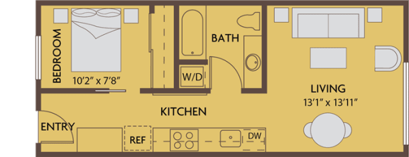 Floor Plan  1 bed 1 bath 528 square feet floor plan