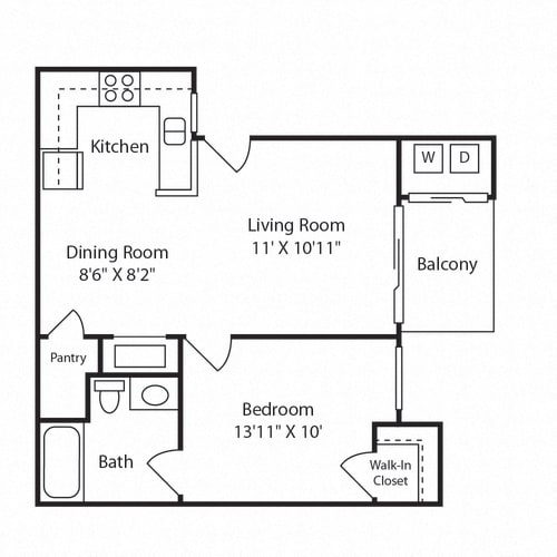Floor Plan  1X1 floorplan