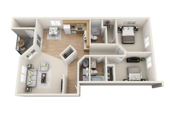 Floor Plan  2x2R Renovated