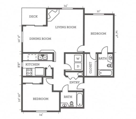 Floor Plan  Two Bedrooms