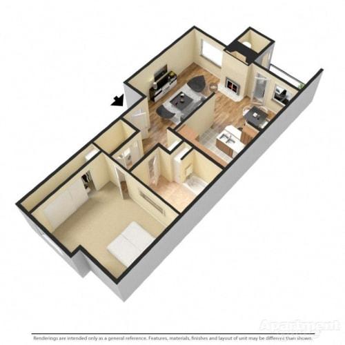 Floor Plan  1 Bed 1 Bath Floor Plan at Copper Creek, Milton, WA, 98354