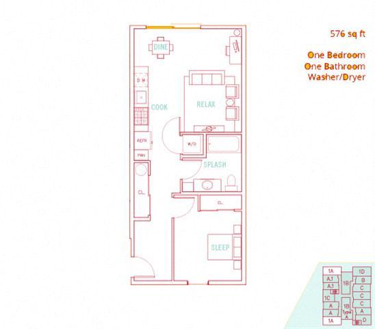 Floor Plan  1BD - Sound