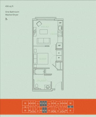 Floor Plan  1BD - Gumbie