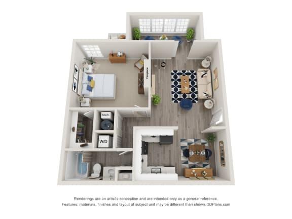 Floor Plan  Twin Springs Apartments, Norcross Georgia, A1 3D floorplan