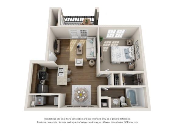 Floor Plan  A1, 1 br, 1 ba, 650 sq. ft.